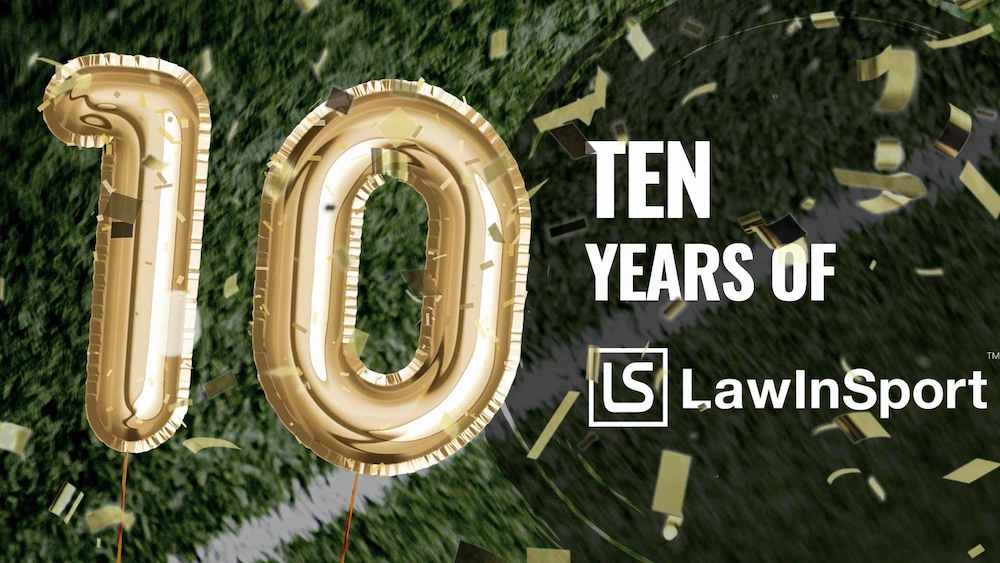 Image celebrating 10 years of LawInSport
