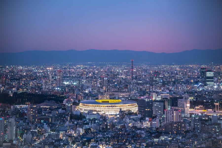 Aerial view of Olympic Stadium in twilight