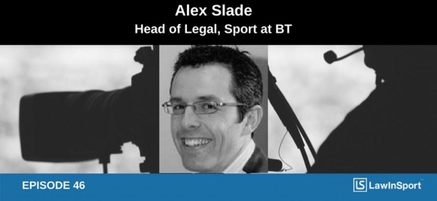 Alex Slade podcast image on broadcasting background