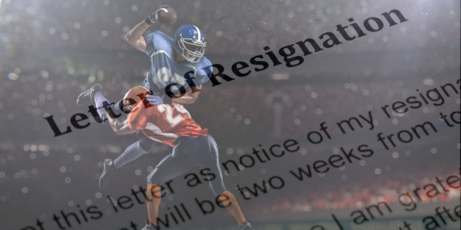 Resignation letter with American football background