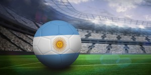 Argentina flag on football inside of stadium