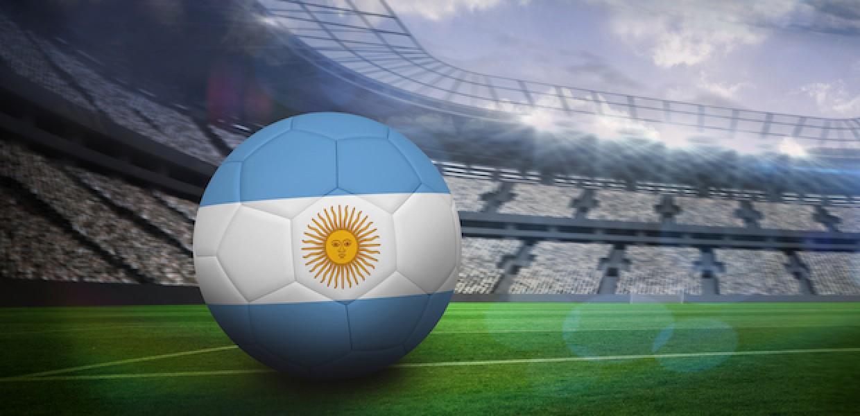 Argentina flag on football inside of stadium