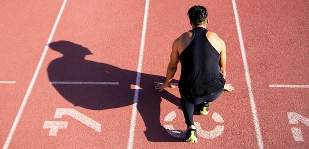 Track athlete on the start line