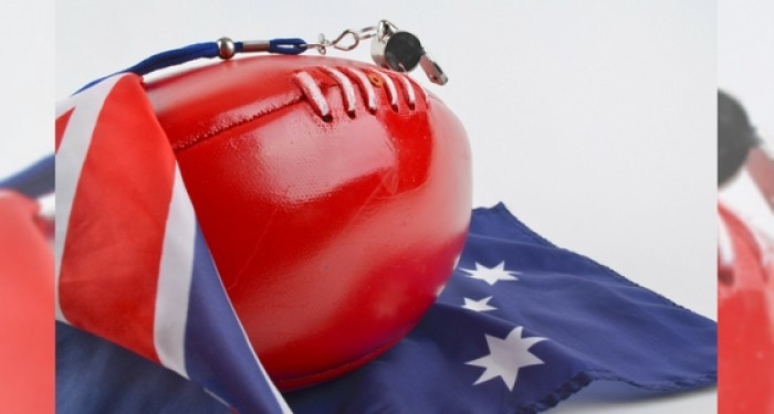 Australian flag wrapped around rugby ball