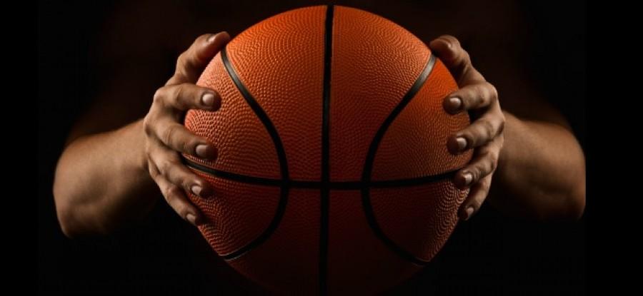 Basketball between hands