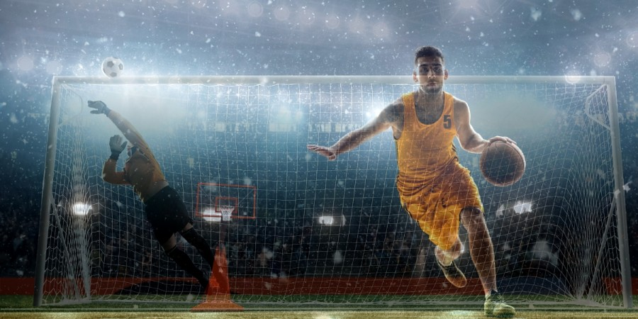 Basketball and football players