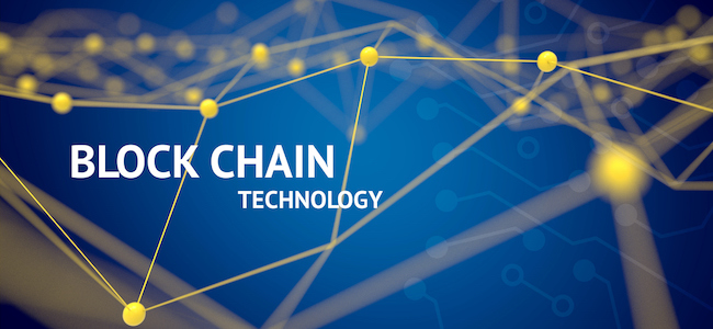 Block Chain Technology text on symbolic background