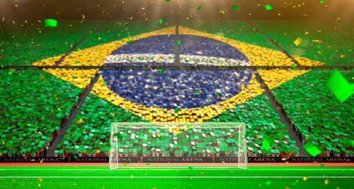 Brazilian flag in football stadium in the stands