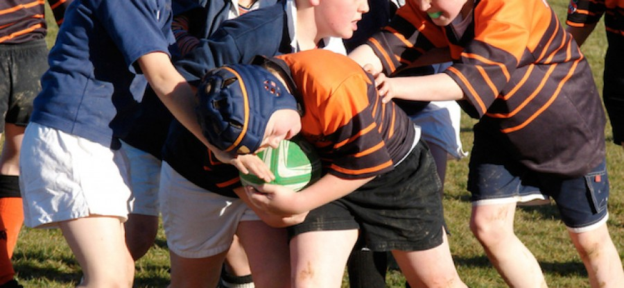 Children playing rugby