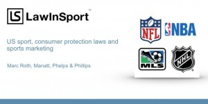 Podcast cover - Consumer Protection and Sports Marketing - NFL, NBA, NHL and MBL