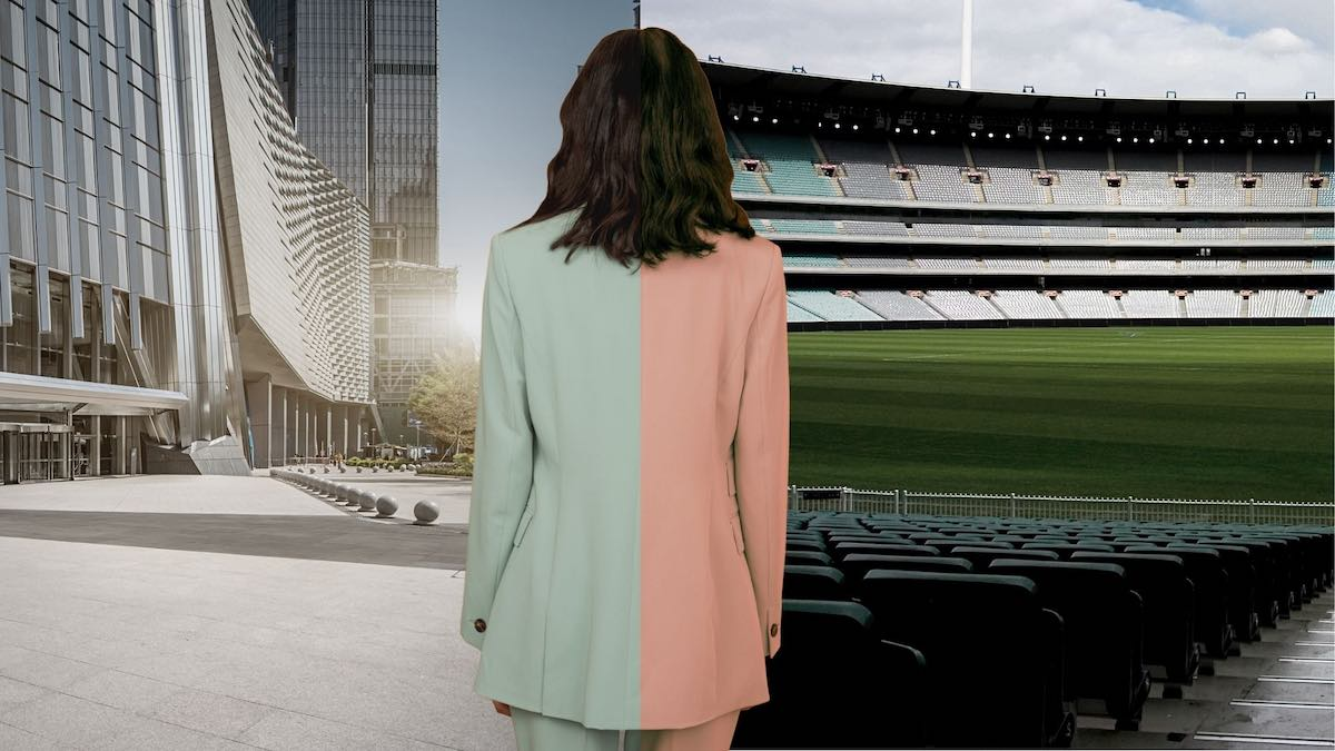 Image of corporate woman in front of half office background and half stadium background