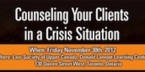 Counseling your clients in a crisis situation - conference & webcast