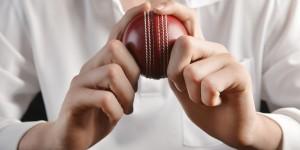 Cricket Bowler Holding Ball