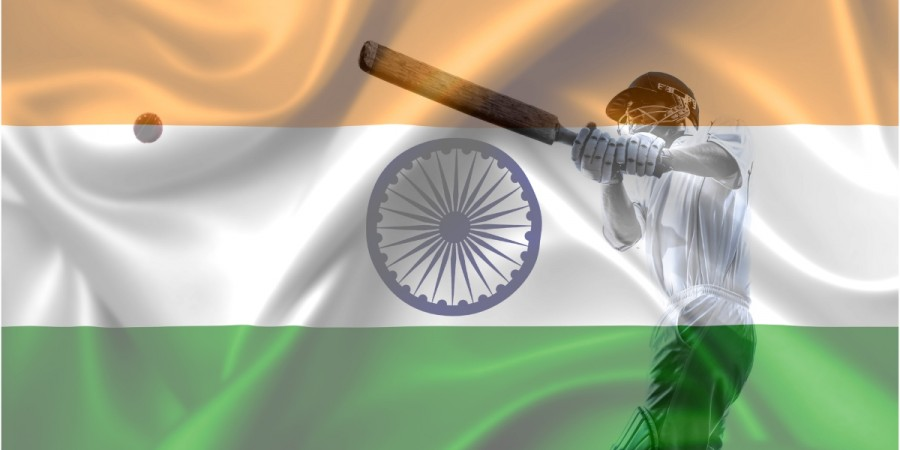 Cricket players and Indian Flag