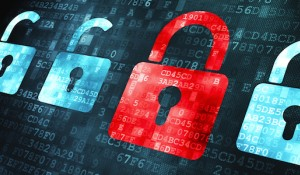 Unlocked and locked locks on data background