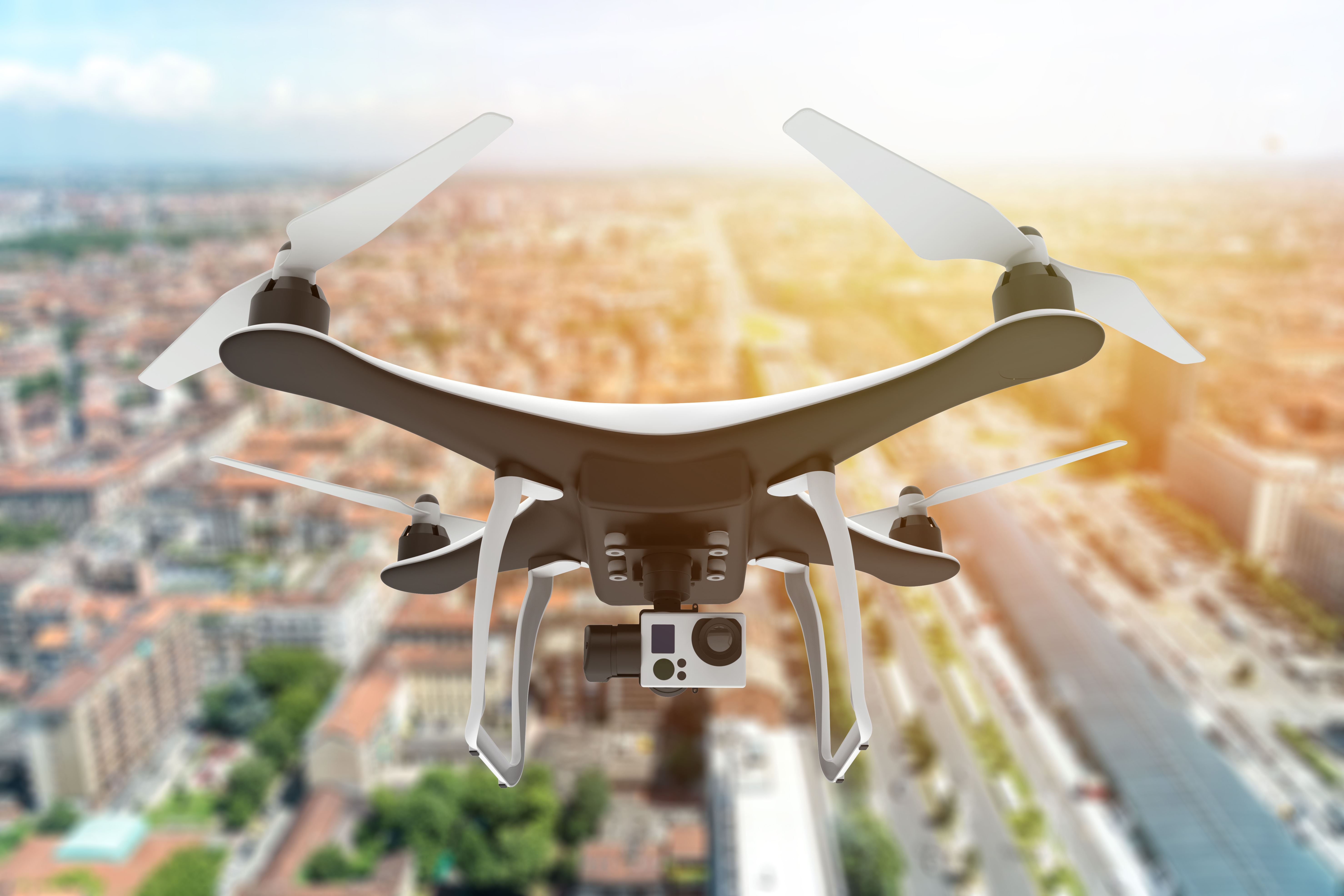 Title image - Drone flying over city