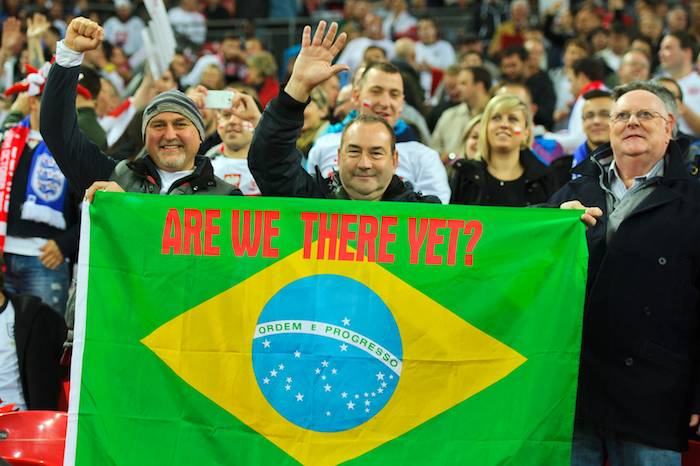 England Fans with Brazil Flag - Are we there yet?