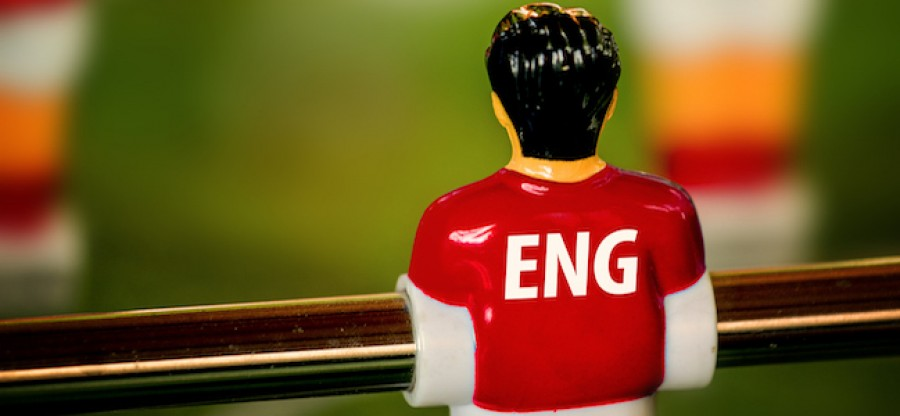Foosball player in England football jersey