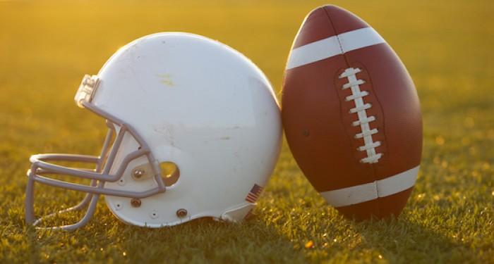 American Football Helmet and football