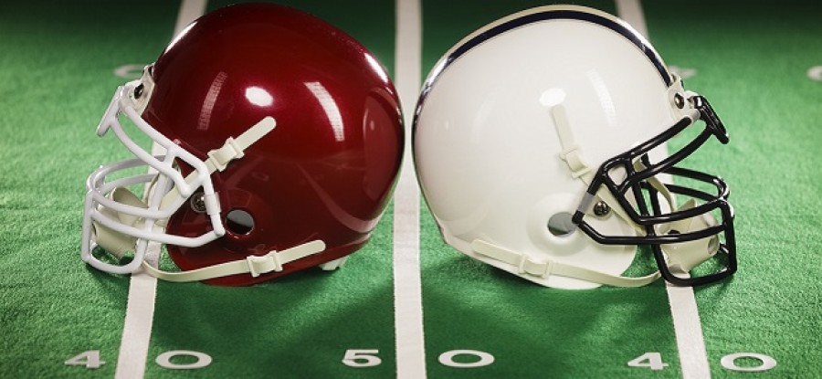 Football helmets on yardline