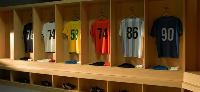Football kit hung on rack