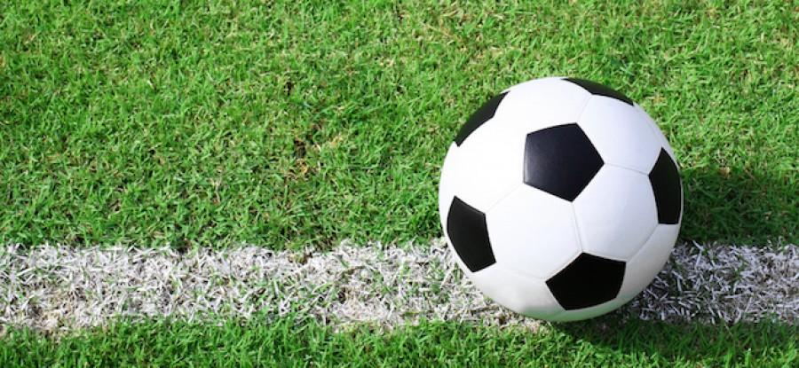 Football on field on the line