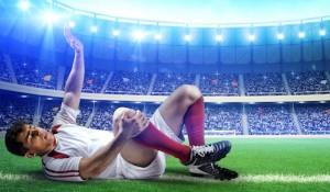Football player injured on football field