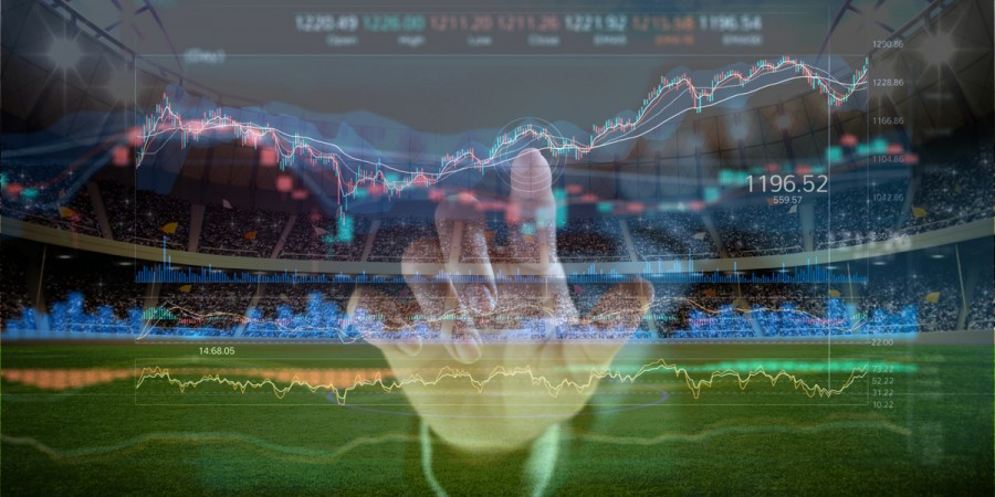 Football stadium and data graphs