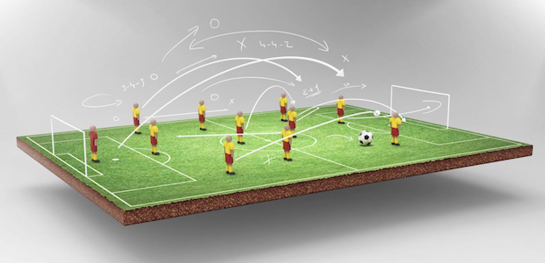 Football strategy illustration above floating football field