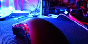 Gaming mouse in red and blue light