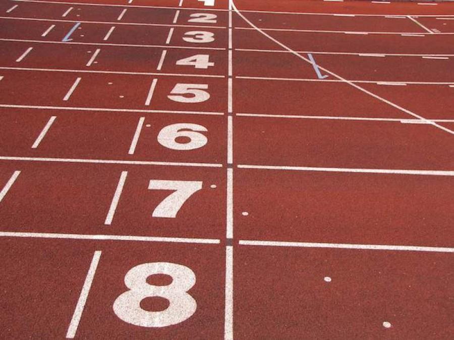 Athletics tracks finish line
