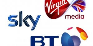 BT, Sky and Virgin Media Logos