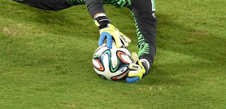 Football goal saved