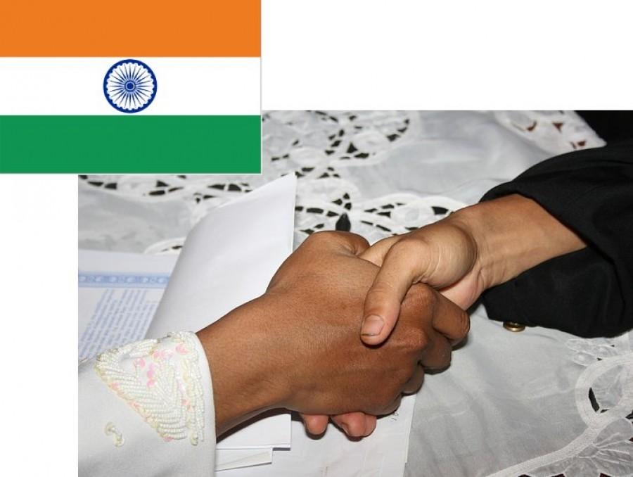 Indian Flag and Hand Shake