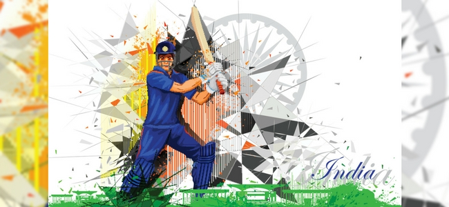 Indian cricket player on Indian flag design in background