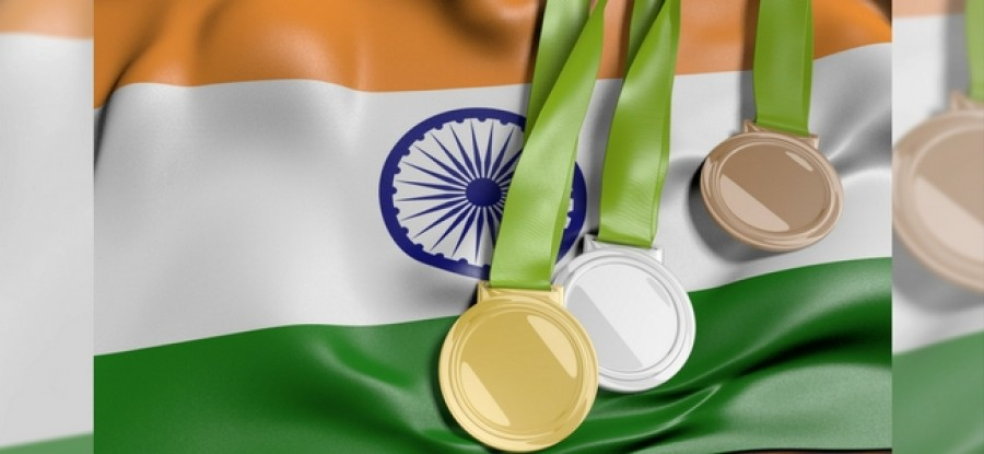 Indian flag with Olympic medals