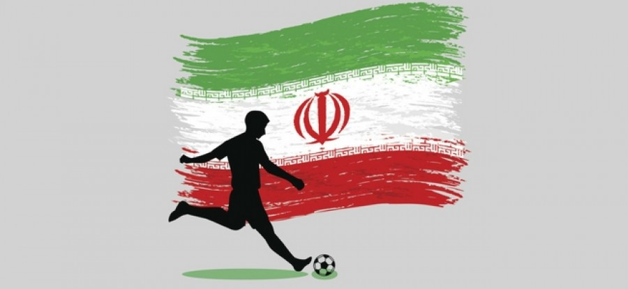 Football player in front of Iranian flag