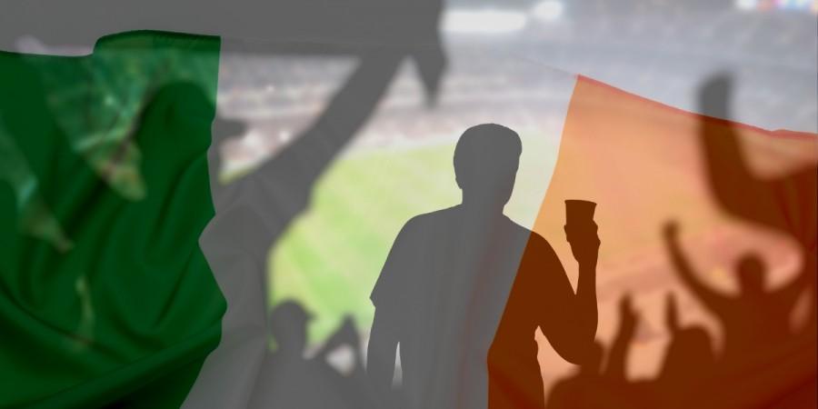 Ireland Flag with stadium background
