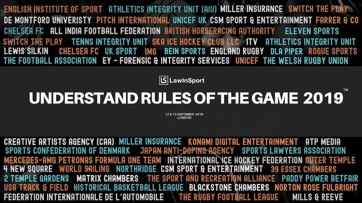 Image of LawInSport Annual Conference - Understand The Rules Of The Game 2019 attending companies