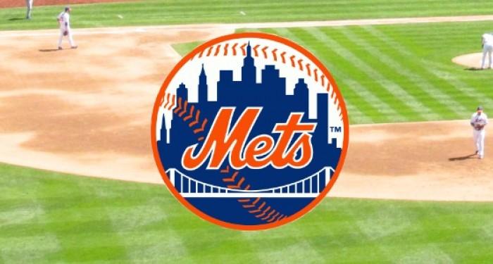 Mets Logo over Baseball Pitch