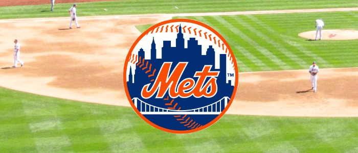Mets Logo over Baseball Pitch