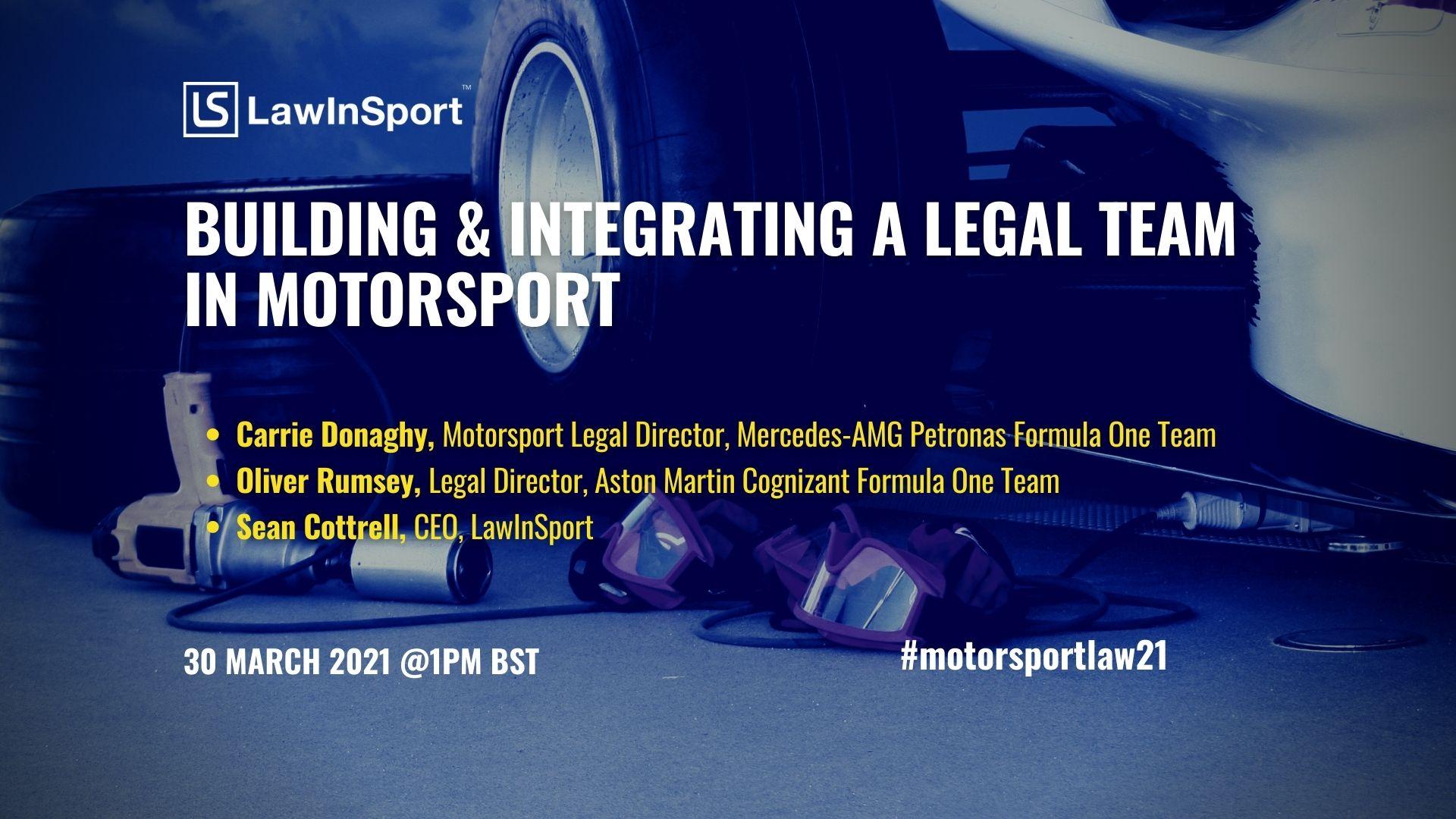 Title image - building & integrating a legal team in motorsport