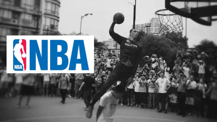NBA China Player Dunking Over Person