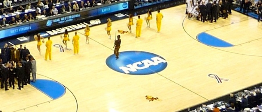 NCAA logo on basketball court