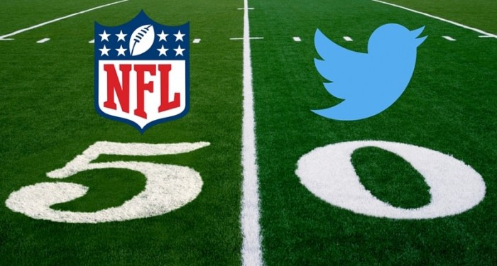 NFL and Twitter logos on American football pitch