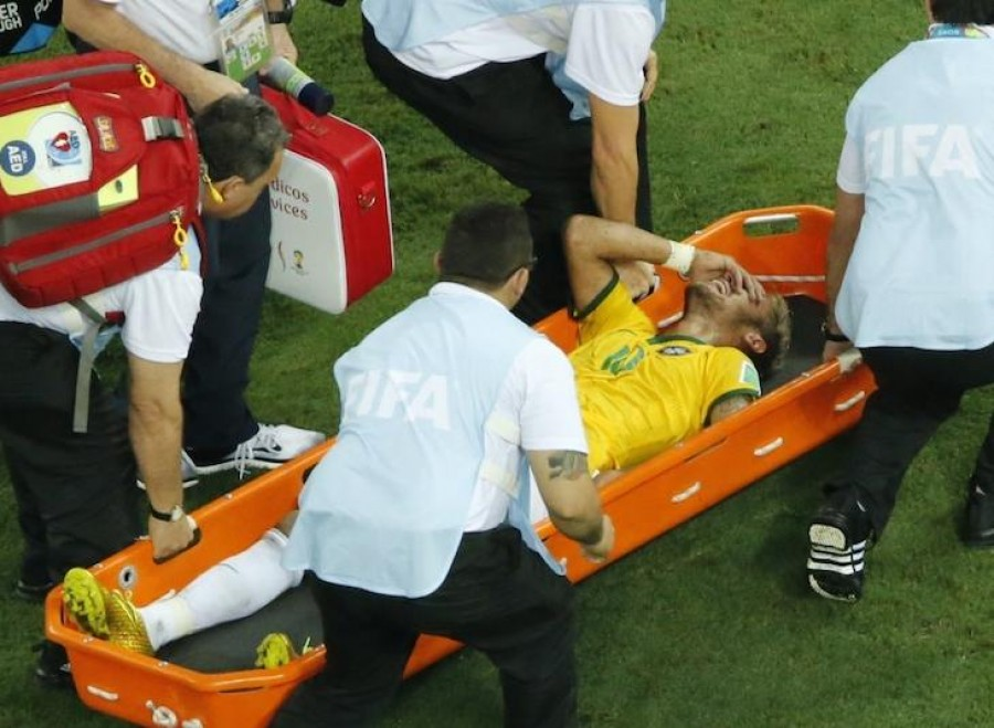 Neymar on Stretcher at World Cup