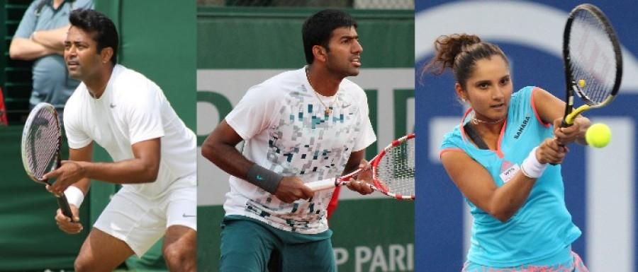 Leander Paes, Rohan Bopanna, and Sania Mirza
