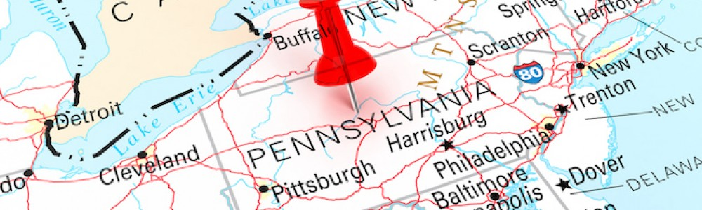 State of Pennsylvania on map
