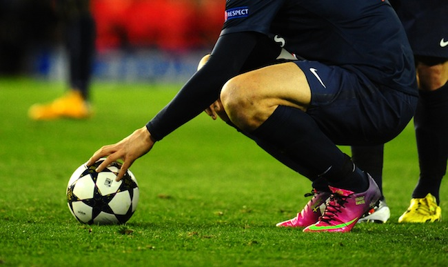 Player hand on UEFA ball