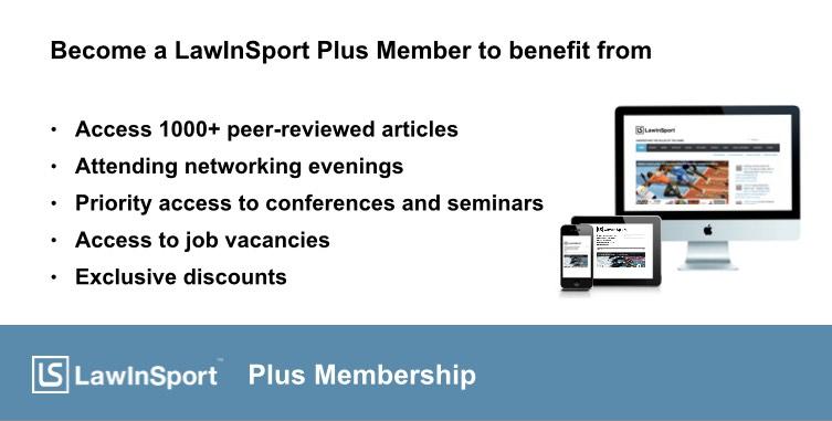 LawInSport Plus Membership Announcement Image